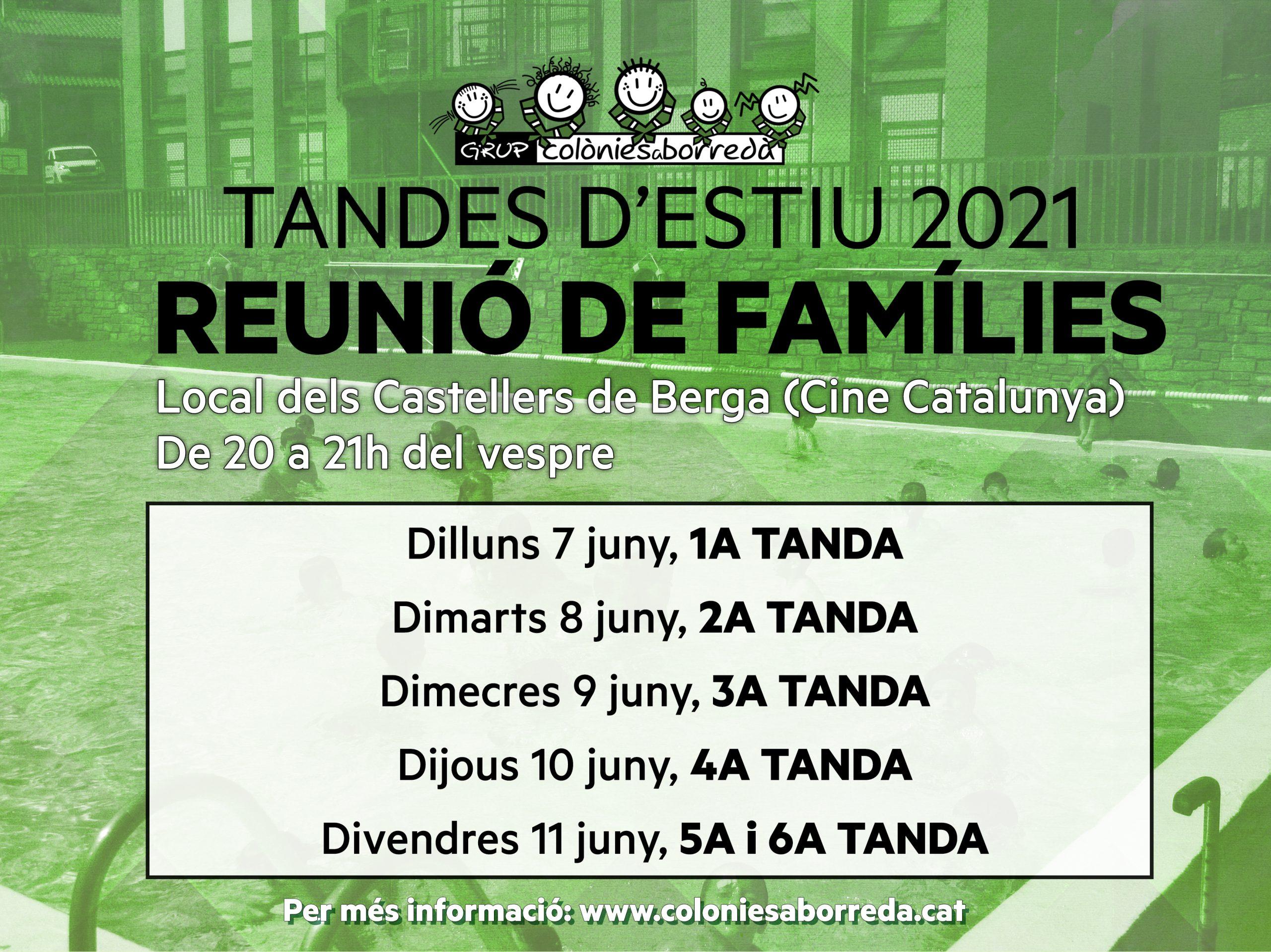 Hola famílies, ja ho tenim tot apunt per començar les tandes de Colònies a Borredà, després d'un any d'aturada per la Covid-19. Primer de tot us informem del calendari de les reunions que farem amb vosaltres, les famílies, de cara la propera setmana: Dilluns 7 de juny – 1a TANDA Dimarts 8 de juny – […]